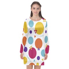Background Polka Dot Long Sleeve Chiffon Shift Dress