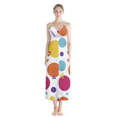Background Polka Dot Button Up Chiffon Maxi Dress