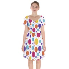 Background Polka Dot Short Sleeve Bardot Dress