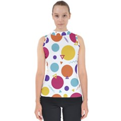 Background Polka Dot Mock Neck Shell Top