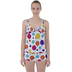 Background Polka Dot Tie Front Two Piece Tankini