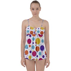 Background Polka Dot Babydoll Tankini Set