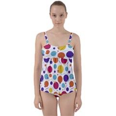 Background Polka Dot Twist Front Tankini Set