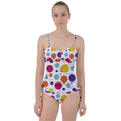Background Polka Dot Sweetheart Tankini Set