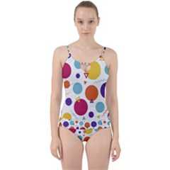 Background Polka Dot Cut Out Top Tankini Set