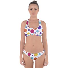 Background Polka Dot Cross Back Hipster Bikini Set