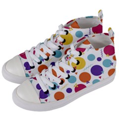 Background Polka Dot Women s Mid-Top Canvas Sneakers