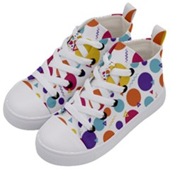 Background Polka Dot Kids  Mid-Top Canvas Sneakers