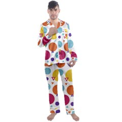 Background Polka Dot Men s Satin Pajamas Long Pants Set