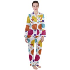Background Polka Dot Satin Long Sleeve Pyjamas Set