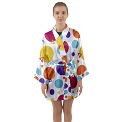 Background Polka Dot Long Sleeve Kimono Robe