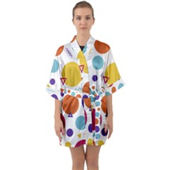 Background Polka Dot Quarter Sleeve Kimono Robe