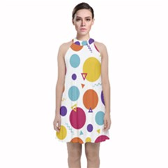 Background Polka Dot Velvet Halter Neckline Dress