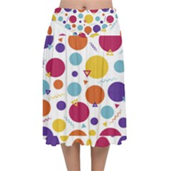 Background Polka Dot Velvet Flared Midi Skirt