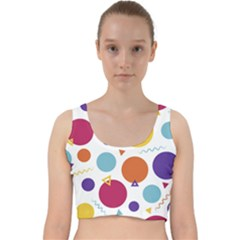 Background Polka Dot Velvet Racer Back Crop Top
