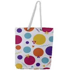 Background Polka Dot Full Print Rope Handle Tote (Large)