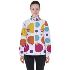 Background Polka Dot Women s High Neck Windbreaker