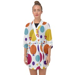 Background Polka Dot Half Sleeve Chiffon Kimono