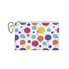 Background Polka Dot Canvas Cosmetic Bag (Small)