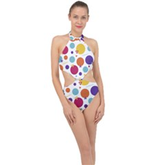 Background Polka Dot Halter Side Cut Swimsuit