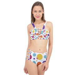 Background Polka Dot Cage Up Bikini Set