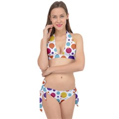 Background Polka Dot Tie It Up Bikini Set