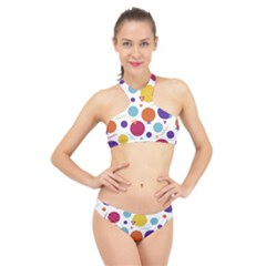 Background Polka Dot High Neck Bikini Set