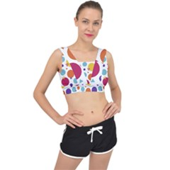 Background Polka Dot V-Back Sports Bra