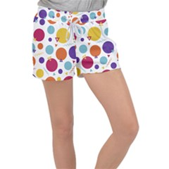 Background Polka Dot Women s Velour Lounge Shorts