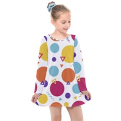 Background Polka Dot Kids  Long Sleeve Dress