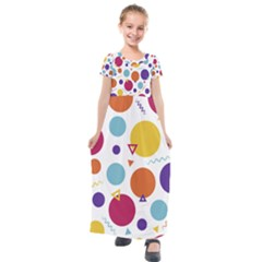 Background Polka Dot Kids  Short Sleeve Maxi Dress