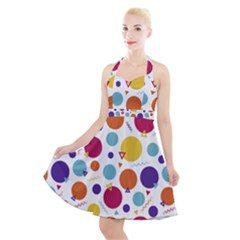 Background Polka Dot Halter Party Swing Dress