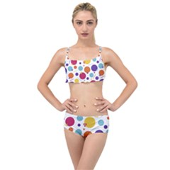 Background Polka Dot Layered Top Bikini Set