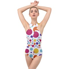 Background Polka Dot Cross Front Low Back Swimsuit