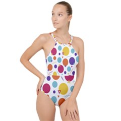 Background Polka Dot High Neck One Piece Swimsuit
