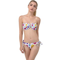 Background Polka Dot Twist Bandeau Bikini Set