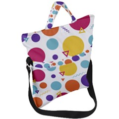 Background Polka Dot Fold Over Handle Tote Bag