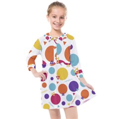 Background Polka Dot Kids  Quarter Sleeve Shirt Dress