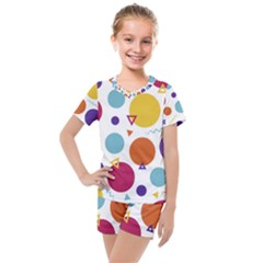 Background Polka Dot Kids  Mesh Tee and Shorts Set