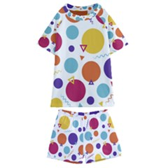 Background Polka Dot Kids  Swim Tee and Shorts Set
