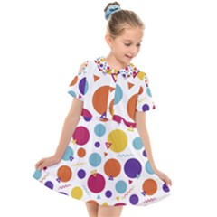 Background Polka Dot Kids  Short Sleeve Shirt Dress