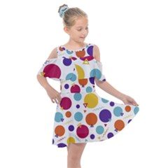 Background Polka Dot Kids  Shoulder Cutout Chiffon Dress