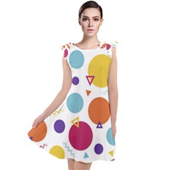 Background Polka Dot Tie Up Tunic Dress