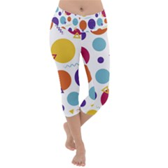 Background Polka Dot Lightweight Velour Capri Yoga Leggings