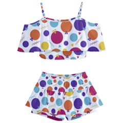 Background Polka Dot Kids  Off Shoulder Skirt Bikini