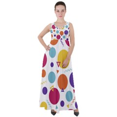 Background Polka Dot Empire Waist Velour Maxi Dress