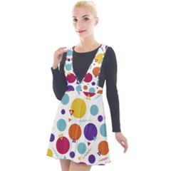 Background Polka Dot Plunge Pinafore Velour Dress