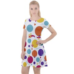 Background Polka Dot Cap Sleeve Velour Dress