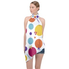 Background Polka Dot Halter Asymmetric Satin Top