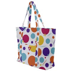 Background Polka Dot Zip Up Canvas Bag
